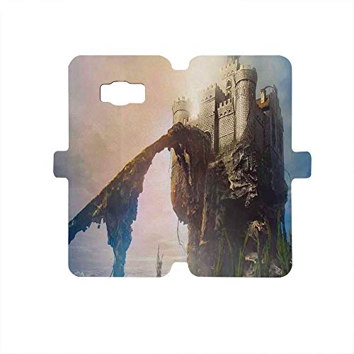 Painted Galaxy S8 Case, Premium PU Leather Wallet Flip Protective Case,Medieval Decor,Old Ancient Fantastic Castle on The Hill Legendary Royal Stories of Middle Age Mist Art,Grey Blue