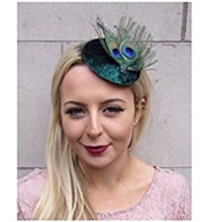 Starcrossed Boutique Dark Green Peacock Feather Pillbox Hat Fascinator Hair  Clip Races Cocktail 4405 6535047b32c