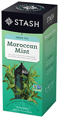Chinese Green 30 Bag - Stash Tea Moroccan Mint Green Tea 30 Count Tea Bags in Foil 1.3 oz (Pack of 6), Tea Bags Individually Wrapped in Foil (packaging may vary), Medium Caffeine Tea, Green Tea Blended with Mint