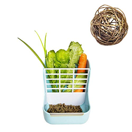 - Rabbit Feeder with Chew Toy Hay Food Bin 2 in 1 Hay Feeder Manger Rack for Rabbit Guinea Pig Chinchilla and Other Small Animals