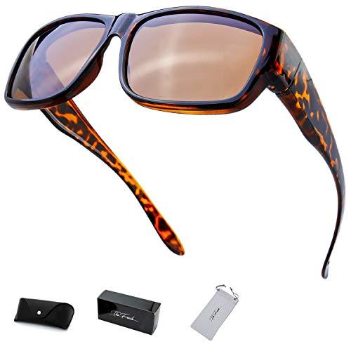 The Fresh High Definition Polarized Wrap Around Shield Sunglasses for Prescription Glasses 66mm Gift Box (404-Shiny Demi, Brown)