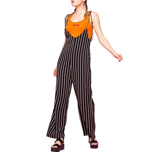 Sunhusing Ladies Sling Striped Camis Bodysuit Plus Size Loose Wide Leg Pants Slim Strappy Jumpsuit Black