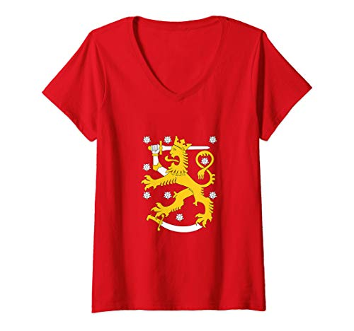 Womens Finland Coat Of Arms Shirt Finnish Lion Symbol V-Neck T-Shirt (Arms Coat Finnish Of)