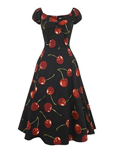 Stiel Damen Schwarz 1950 Kleid Schwarz Collectif Puppe Vintage Rot Cherry der nbsp;Dolores 0qv6RWd