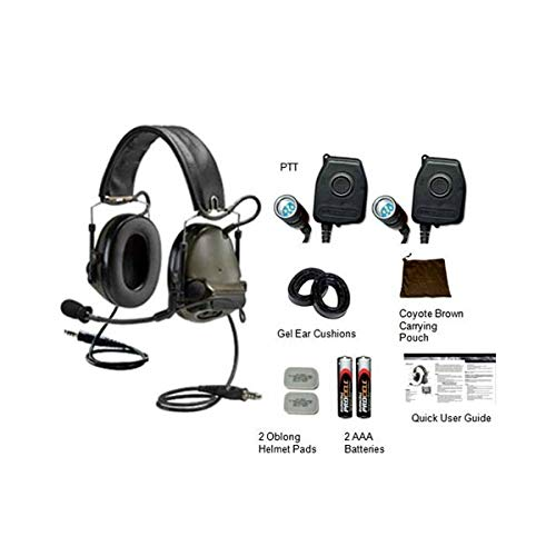 (3M Military or Hunting ComTac III ACH Dual COMM Kit, Olive Drab Green, Peltor Hearing Protection, Over Head Electronic Ear Muffs, 20 Decibel reduction)