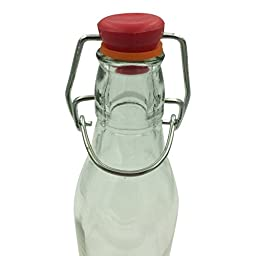 Set of 6 Mini Glass Bottles - 8 oz - With Attached \'Swing-Top\' Stopper
