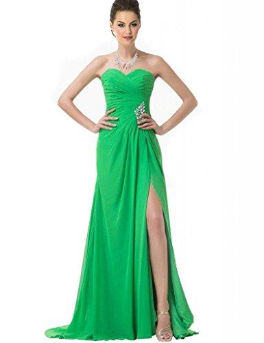 Delle Da Ballo Abiti Innamorato Verdi Lungo Dividere Besswedding Imperlata Verde Chiffon Donne Di qAIn4gv