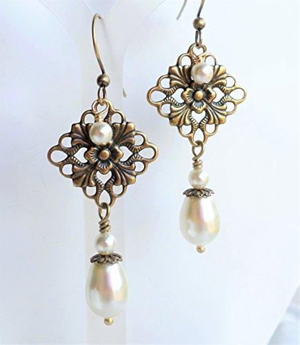 Antique Brass Filigree Cream Pearl Chandelier Earrings