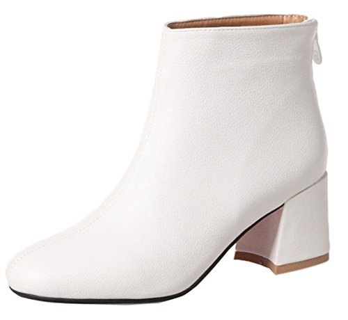 SHOWHOW Block Women's Booties Daily Color Waterproof Heels Solid White qPqUwTr