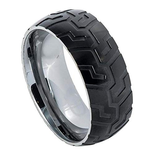 Custom Personalized Engraving Wedding Band Ring Set for Him & Her - 8mm Tungsten Ring Semi-Domed Ring with Black IP Plated with Super Sleek Tire Tread Laser Carved Pattern (Tire Wedding Rings For Him And Her)