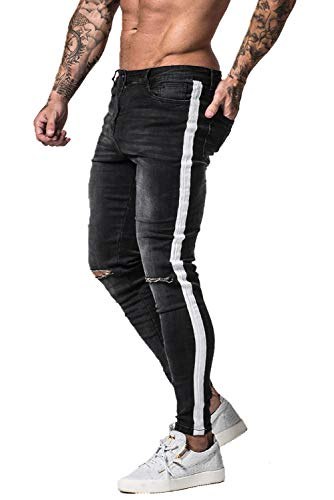 GINGTTO Black Skinny Jeans for Men Ripped Jeans Slim Fit Casual Distressed Denim Pants 30