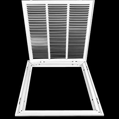 """24"""" X 24"""" Steel Return Air Filter Grille by HANDUA   Removable Face Door HVAC Duct Cover Grill for 1-inch Filter, White   Outer Dimensions: 26.5""""W X 26.5""""H"""