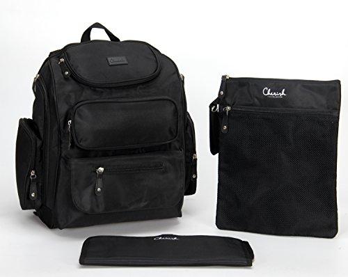 Baby Diaper Bag Backpack. Multi-Pocket, Wipeable, Unisex, Bl