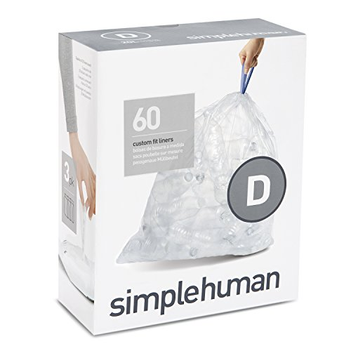 simplehuman Code D Custom Fit Recycling Trash Can Liner, 3 R