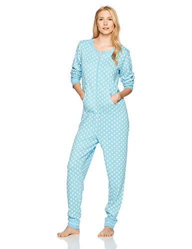 Amazon Brand - Mae Women's Sleepwear Vintage Thermal Loose Fit Onesie, Aqua Dots, M
