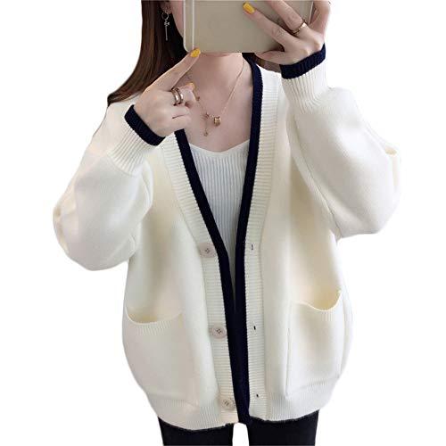 [ヤンーチ] レディース カーディガン ニット セーター 秋 コート ジャケット ポケット付き カジュアル かわいい シンプル コーディネート