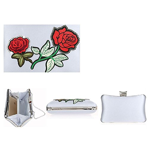 femmes sac 11 20 broderie soirée pour main x4cm wedding sac rhinestone purse party x clutch silver de banquet à trqfwxra