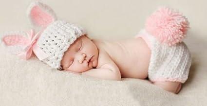 Disfraz de ganchillo de conejito rosa para recién nacido, ideal para ...