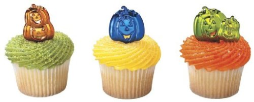 Halloween PUMPKIN CupCake TOPPER Party Birthday Kit Witch Cat Treats Bags Loots ()