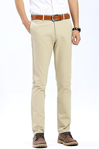 INFLATION Mens Slim Tapered Stretch Flat Front Casual Pants 100% Cotton Dress Pants Trousers for Men,22 Color Choices,Khaki Pants Size - Cotton Flat Front Pants Work