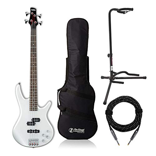 Ibanez GIO Electric Bass Guitar (GSR200) with Gig Bag, Stand and Knox Guitar Cable (4 Items)