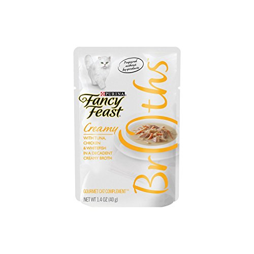 Lightweight Creamy (Purina Fancy Feast Broths With Tuna Chicken & Whitefish In A Decadent Creamy Broth Adult Wet Cat Food Complement - (16) 1.4 Oz. Pouches)