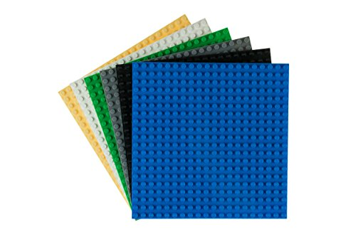Strictly Briks Classic Baseplates 6 x 6 Building Brick Base Plates 100% Compatible with All Major Brands   Baseplates for Building Towers, Tables & More   Black, Blue, Gray, Green, Sand, White
