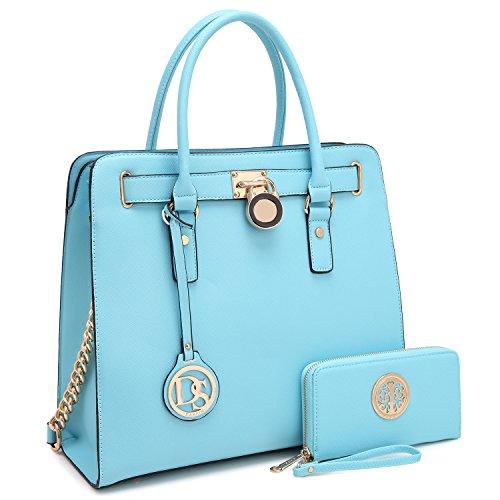 DASEIN Fashion Top Belted Tote Satchel Designer Padlock Handbag Shoulder Bag for Women (2553w-light blue)