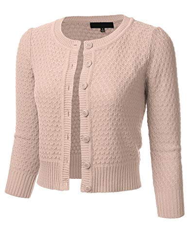 Women's Button Down 3/4 Sleeve Crew Neck Cotton Knit Cropped Cardigan Sweater Blush ()