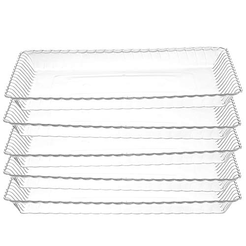 12 Pack - Plastic Serving Trays - Disposable Rectangular tray, The Perfect Platters And Trays For Parties, 9 x 13, Clear ()