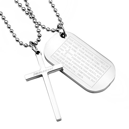 Zysta 2pcs Mens Stainless Steel Cross Lord Prayer Dog Tag Army Style Pendant Necklace, 22 inch Chain Army Style Dog Tag