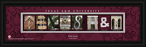 (College Campus Letter Art Personalized Texas A&M Bold Print Framed Posters 22x6 Inches)