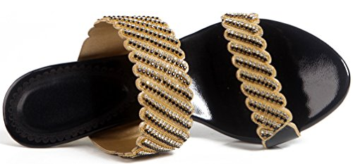 Salabobo Womens Slip on Sandals Slippers Bridesmaid Glaring Beautiful Pretty Performance Leisure Shoes ZXT003 Black fcENW