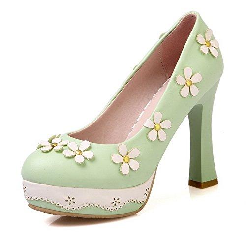 VogueZone009 Damen Ziehen auf PU Leder Rund Zehe Hoher Absatz Rein Pumps Schuhe Grün