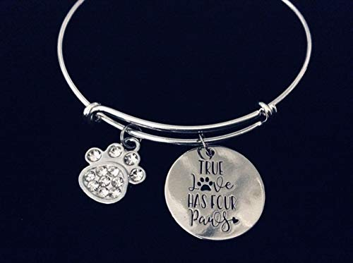 True Love Has Four Paws Adjustable Charm Bracelet Expandable Silver Bangle One Size Fits All Gift Crystal Cat Dog Paw Print Pet Lover Jewelry Personalization Options Available ()