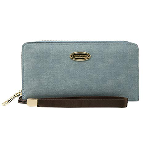 - Women's Blocking Real Leather Wallet Clutch Large Travel Purse Wristlet