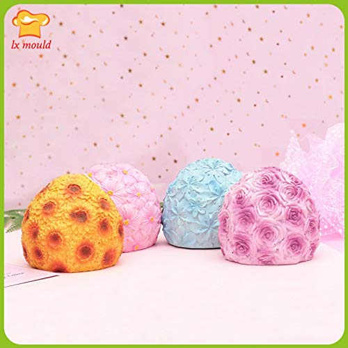 Ball Candle Soap Molds 2109 New Large 9.5cm Rose Sunflower Cherry Blossom Handmade Soap Candle Mold 3D Flower Ball Mold