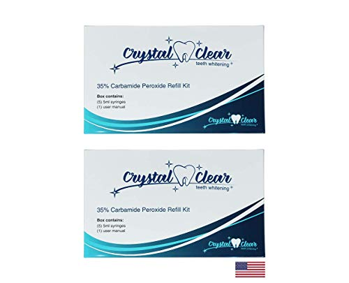 (10 Pack) Crystal Clear Teeth Whitening Gel REFILL Kit, Safe 35% Carbamide Peroxide, FDA Approved, Made in USA, Dentists Use, 50+ Uses, Effective, Painless, No Sensitivity, Easy to Use