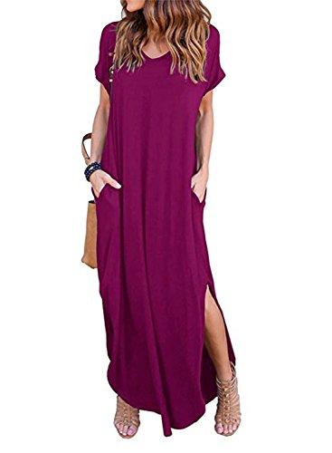 HUSKARY Women's Casual Pocket Beach Long Dress Short Sleeve Split Loose Maxi Dress (Medium, Plum Red) (Plum Medium)