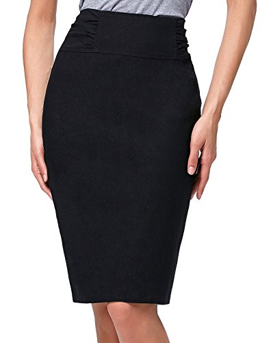 Kate Kasin Slim Fit Shirred Waist Casual Pencil Skirt for Women Size L KK268-1 (Shirred Waist Pencil Skirt)