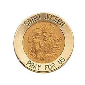 14K Yellow Gold Round Saint Joseph Lapel Pin Under 2/3 Inch X Under 2/3 Inch 14K Yellow Gold