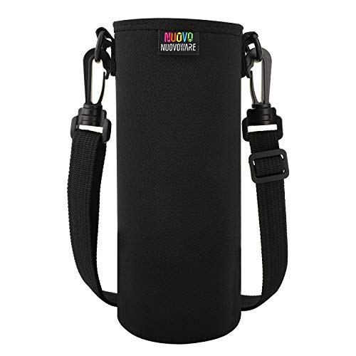 Nuovoware Water Bottle Carrier, Premium Neoprene Portable Insulated Water Bottle Holder Bag 1000ML with Adjustable Shoulder Strap Fit Stainless Steel, Plastic Bottles & More, Large Size, Black