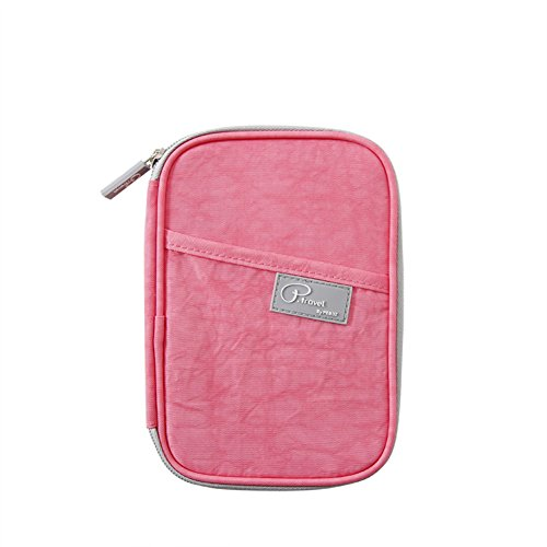 P.Travel Passport Holder Travel Wallet Document Organizer (Peach)