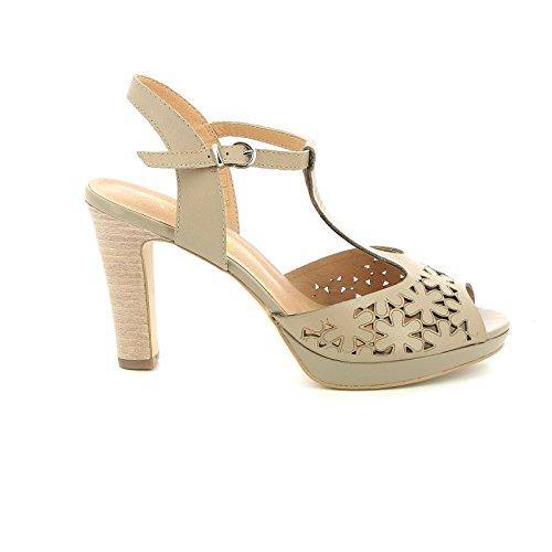 mit Sandalen mit cm Absätzen Beige Scarpe amp;Scarpe und Leder 9 T by Alesya Lasergravuren Bar Absatz wBStPIwq