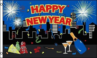3'x5' HAPPY NEW YEAR FLAG, years year's party celebration ba