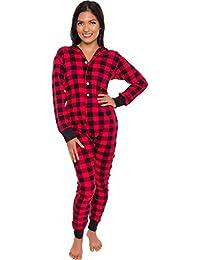 Plaid One Piece Pajamas - Unisex Adult Union Suit Pajamas with Drop Seat 3ef03c951