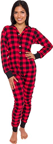 Silver Lilly Plaid One Piece Pajamas - Unisex Adult Union Suit Pajamas with Drop Seat (Red/Black, X-Large)
