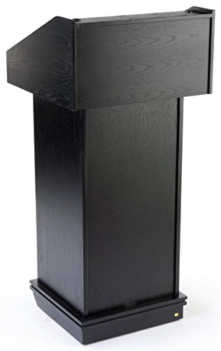 Black Finish Lectern For Tabletop Or Free-Standing Use With Hidden Wheels, 22-3/8 x 48 x 21-5/8-Inch