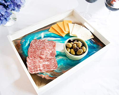Geode Theme Serving Tray with Handles, Kitchen Decor and Party Platter, charcuterie board Party Decor, Home Decor Butlers Tray