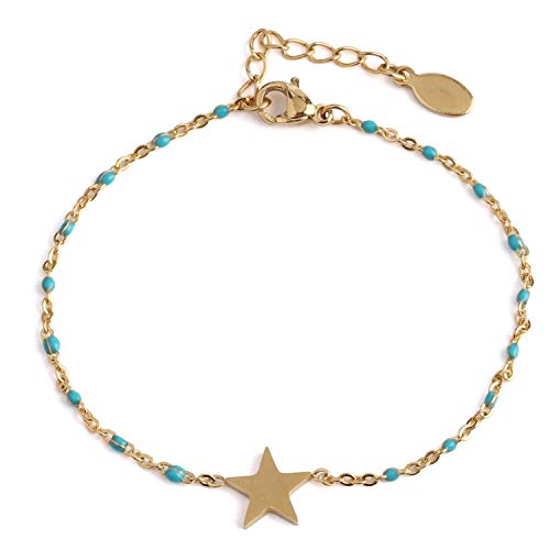 Gold-Color Star Charms Stainless Steel Chain & Link Bracelets Bracelets Bangles Femme Girl Bohemian Engagement Jewelry,Sea Blue